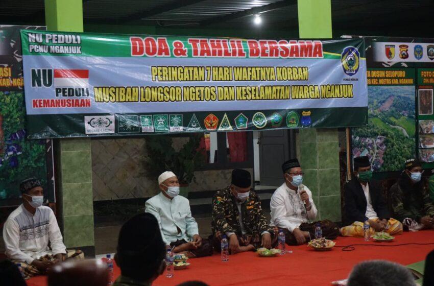 Peringati 7 Hari Meninggalnya Korban Longsor di Ngetos, PCNU Nganjuk Gelar Tahlil dan Doa Bersama